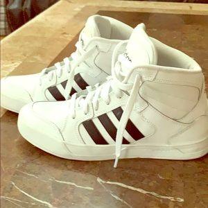 Women's Size 8.5 Adidas 3 stripe high top shoes.